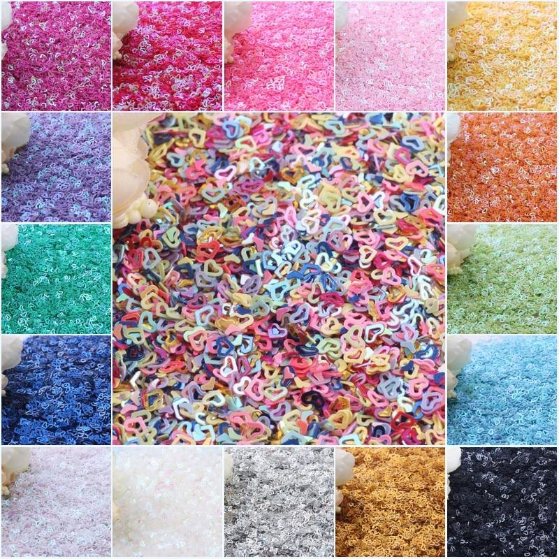 Sequin 3mm Hollow Heart Shape PVC Loose Sequins Paillette Nail Art Paillettes DIY Craft Sewing Decoration Garment Accessory