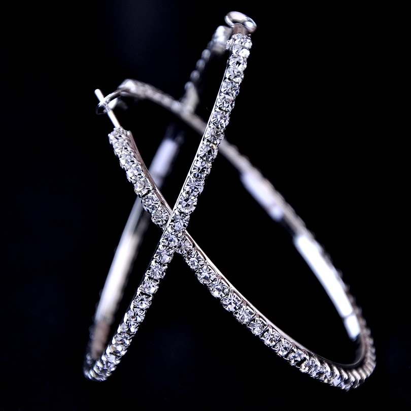 aeda03335 2018 New 30-100mm Large Crystal Hoops Earrings Paparazzi Basketball Wives  CZ Hiphop Earrings Christmas