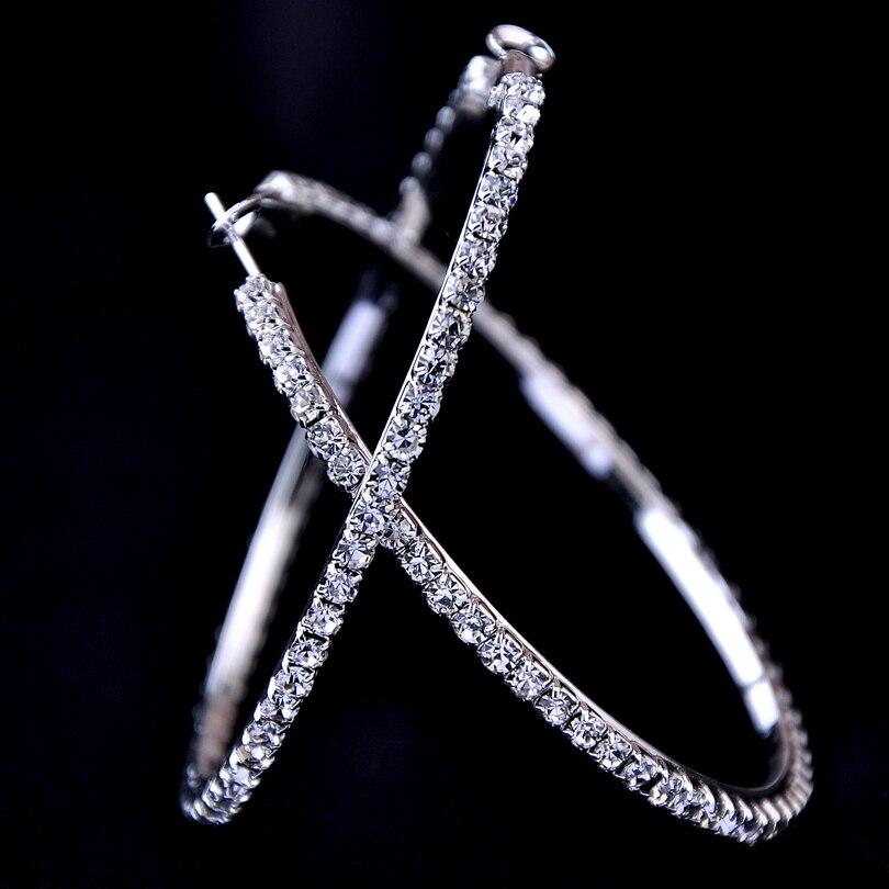 2018 Новинка 30-100 мм большие серьги-кольца с кристаллами серьги с фианитами в стиле хип-хоп для баскетбольных жен Рождественский подарок