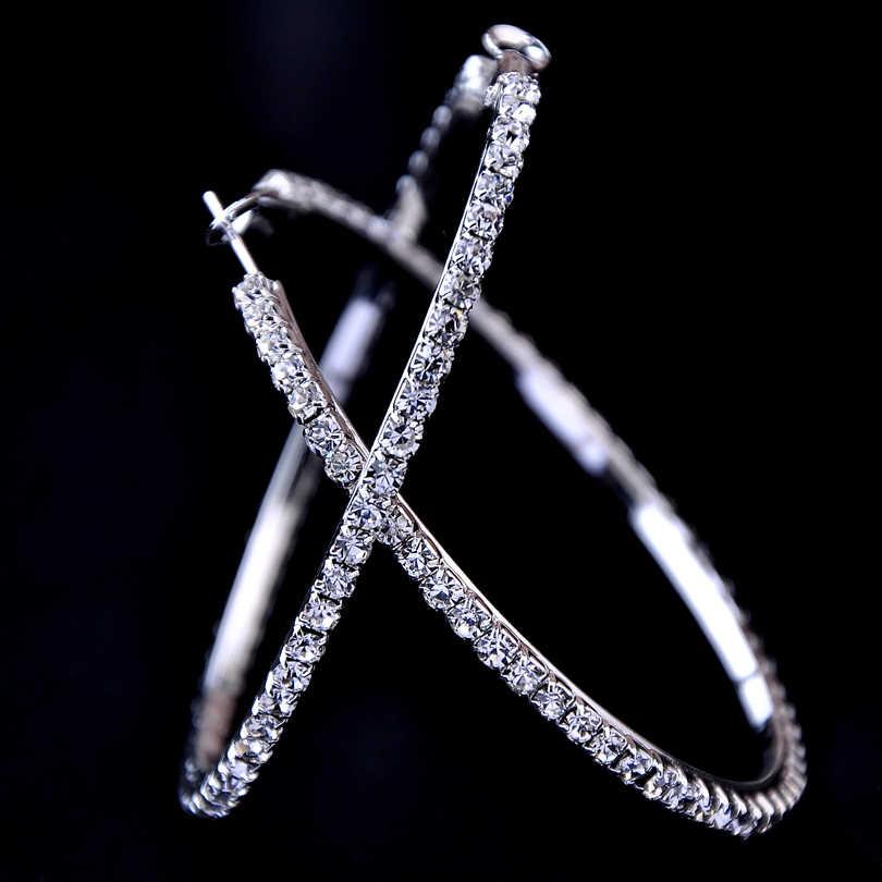 2018 nouveau 30-100mm grand cristal cerceaux boucles d'oreilles Paparazzi basket-ball épouses CZ Hiphop boucles d'oreilles cadeau de noël
