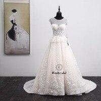 Latest Design Lace Wedding Dress Sleeveless 2018 Appliques High Neck Wedding Bridal Gowns