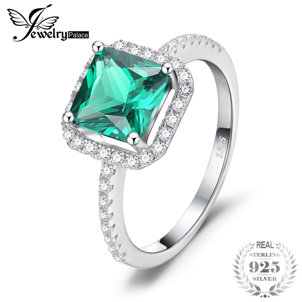 JewelryPalace Square 1.8ct Created Emerald 925 Sterling Silver Ring Fine Jewelry for Women New Brand Fashion Accessories Ring кольцо brand new ring