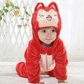 0-24 Mes Marca Niños ropa de Dormir de Franela Suave Animal Bebé Pijama Pieza Kawaii Casa Muchachos de la capa Encapuchada de Los Niños ropa de dormir