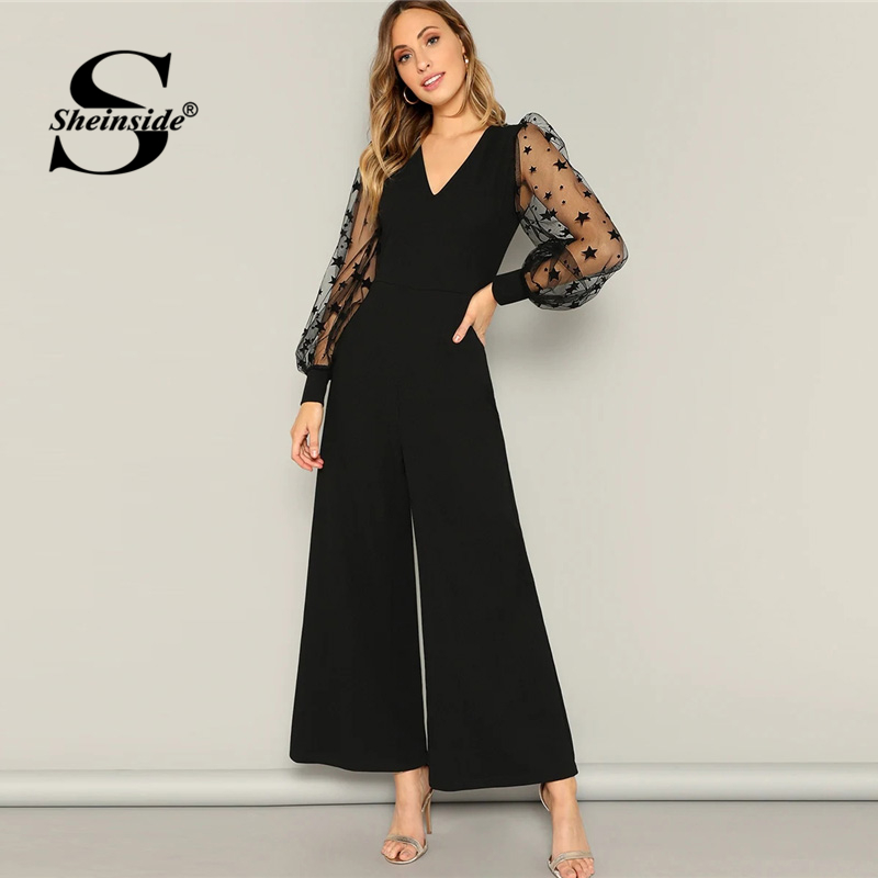 Sheinside Black Star Print Mesh Sleeve Patchwork Jumpsuit Women 2019 Spring High Waist Wide Leg Jumpsuits Ladies V Neck Jumpsuit