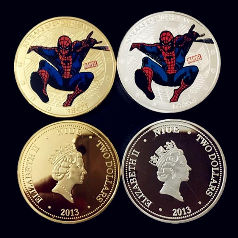 2 pcs The 50th years of spider man <font><b>movie</b></font> hero Elizabeth <font><b>II</b></font> 24K gold plated Canada <font><b>spiderman</b></font> souvenir coin