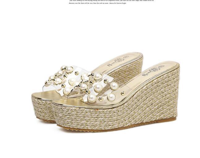 48b538b203 US $28.14 16% OFF|cork wedges sandals women transparent pearl gladiator  sandals rivets platform sandals creepers high heel flip flops beaded  shoes-in ...