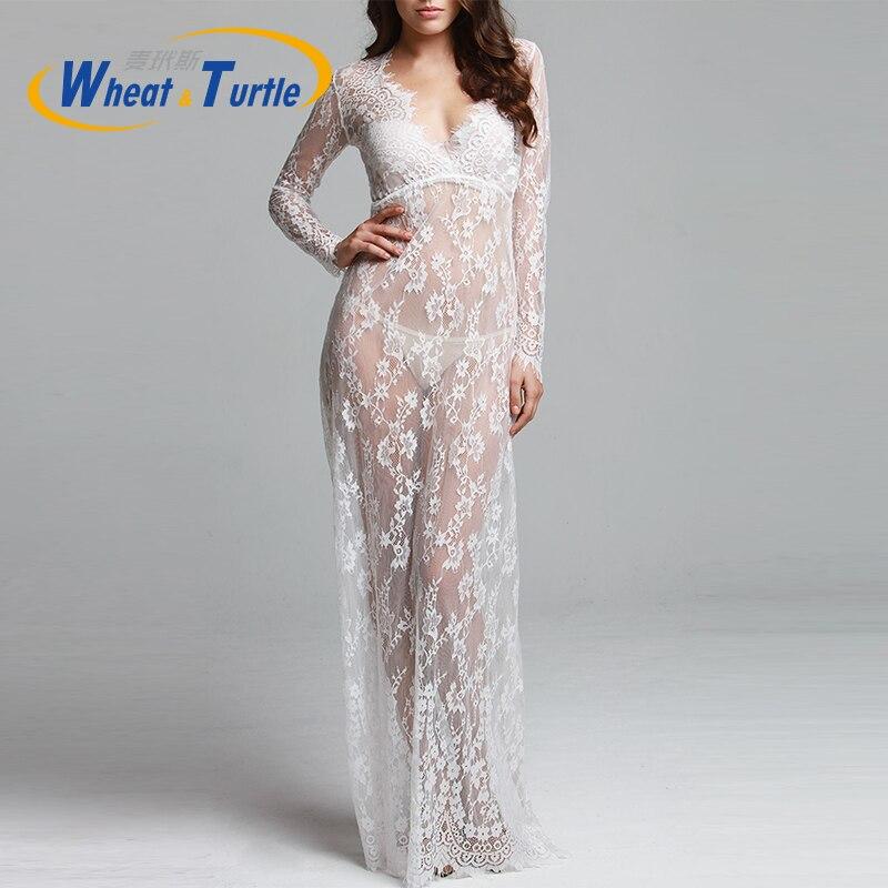 White Lace Beach Dress Long Lace Dress Pregnant Dress Women Pregnant Photography Props Transparent Lace Dress Pregnancy Pajamas