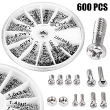 купить 600pcs 12 Kinds Of Nuts Screws Electronics Assortment Kit M1 M1.2 M1.4 M1.6 Repair Tool for Watches Glassess High Quality дешево