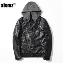 Aismz Male Detachable leather hooded jacket Black Biker Motorcycle Men Slim Fit  PU Leather Coat Jaqueta De Couro Masculino 8829