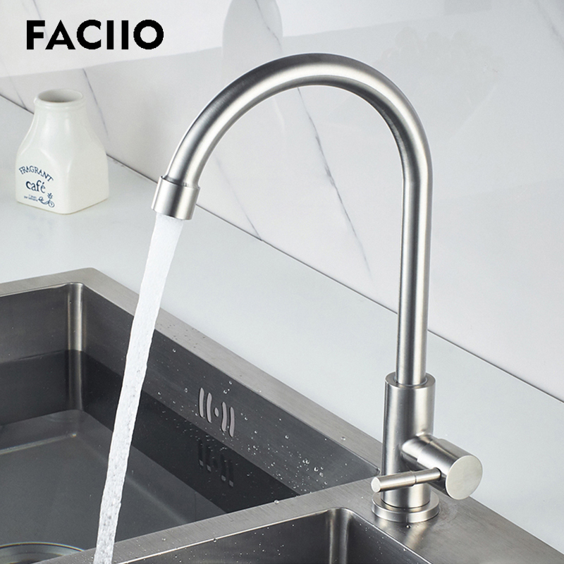 FACIIO Classic Kitchen Sink Faucets Polished Holder Curved Road Single Cold Water Single Hole Stainless Steel Home Water Faucet