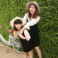 Summer Baby Girls and Mother Clothes Chiffon Polyester Fibre Dress Country Style Black White Leisure Dress