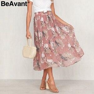 Image 4 - Beavant saia plissada longa com estampa floral, feminina, para férias, praia, chiffon, verão, estilo boêmio, solto