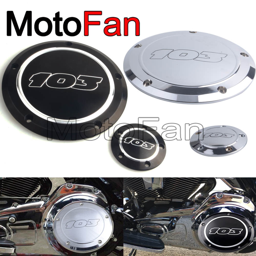 Motorcycle 103 Derby Timer Timing Cover Replacement for Harley Davidson Dyna Street Bob Softail Night Deluxe Fat Boy Road King rsd motorcycle 5 hole beveled derby cover aluminum for harley touring flh t 2016 2017 for flhtcul and flhtkl 2015 2016 2017