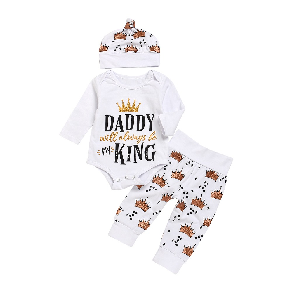 3 Pieces Baby Clothing Set Daddy King Letter bodysuit+ Crown Pants +Hatt Newborn Baby Boy Girl Clothing