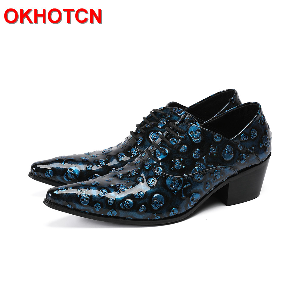 Blue Lace Up Oxford Shoes For Men Skull Design Pointed Toe Men Shoes Leather Handmade Spring Autumn Dress Shoe Zapatos De Hombre klywoo brand new simple style men dress shoes leather breathable lace up oxford shoes for men fashion oxford zapatos hombre