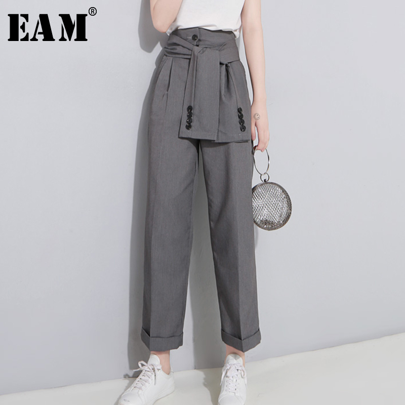 [EAM] 2019 Spring High Waist Lace Up Black Slim Temperament Tide Trend Fashion New Women's Wild Casual Wide Leg Pants LA462