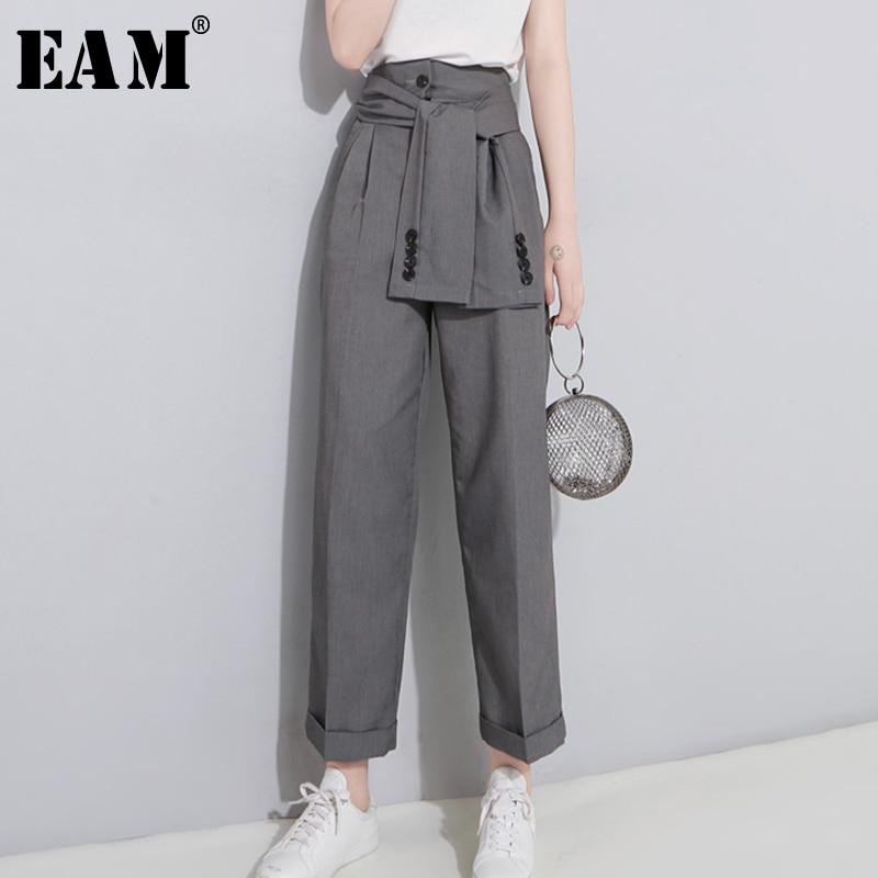 [EAM] 2020 Spring High Waist Lace Up Black Slim Temperament Tide Trend Fashion New Women's Wild Casual Wide Leg Pants LA462