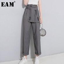 [EAM] 2020 אביב גבוה מותניים תחרה עד שחור Slim טמפרמנט גאות מגמת אופנה חדש נשים של פראי מזדמן רחב רגל מכנסיים LA462