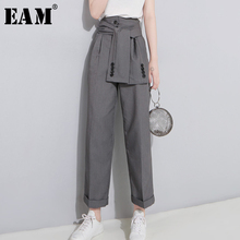 [EAM] 2020 printemps taille haute à lacets noir mince tempérament marée tendance mode nouveau femmes sauvage décontracté large jambe pantalon LA462