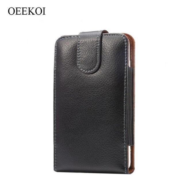 OEEKOI Genuine Leather Belt Clip Pouch Cover Case for Micromax Evok Note/Dual 5/Vdeo 5/Canvas Mega 4G Q417/Mega E353 5.5Inch