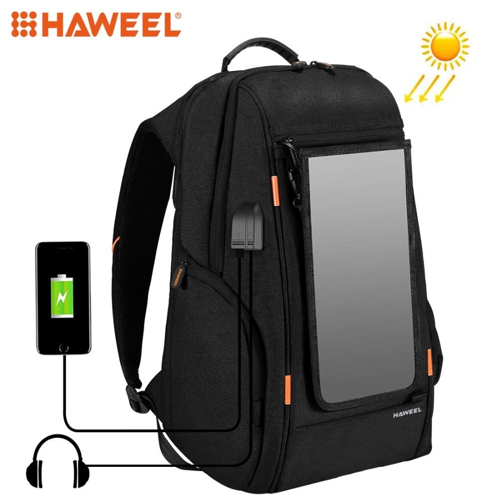 HAWEEL Outdoor Backpack Bags Multi-function Breathable Solar Panel Power Laptop Tablet Bags External USB Charging/Earphone Port