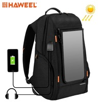 HAWEEL Outdoor Solar Panel Power Backpack Bags Multi function Breathable External USB Charging/Earphone Port Laptop Tablet Bags