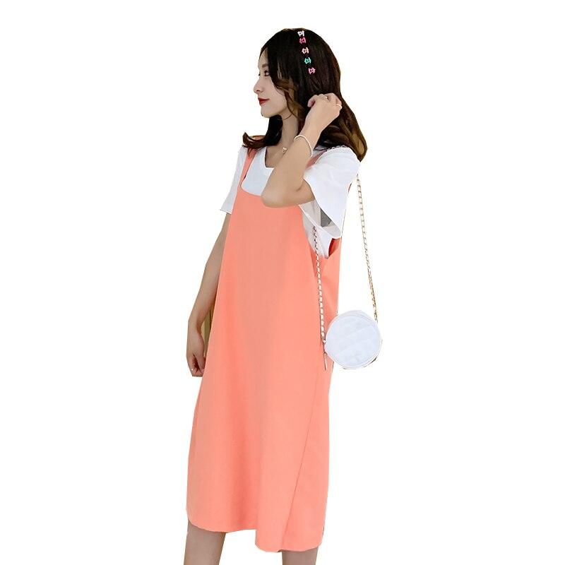 Летний однотонный для беременных костюм платье на бретелях для беременных + белая футболка Костюмы для беременных подтяжки платье комплект...