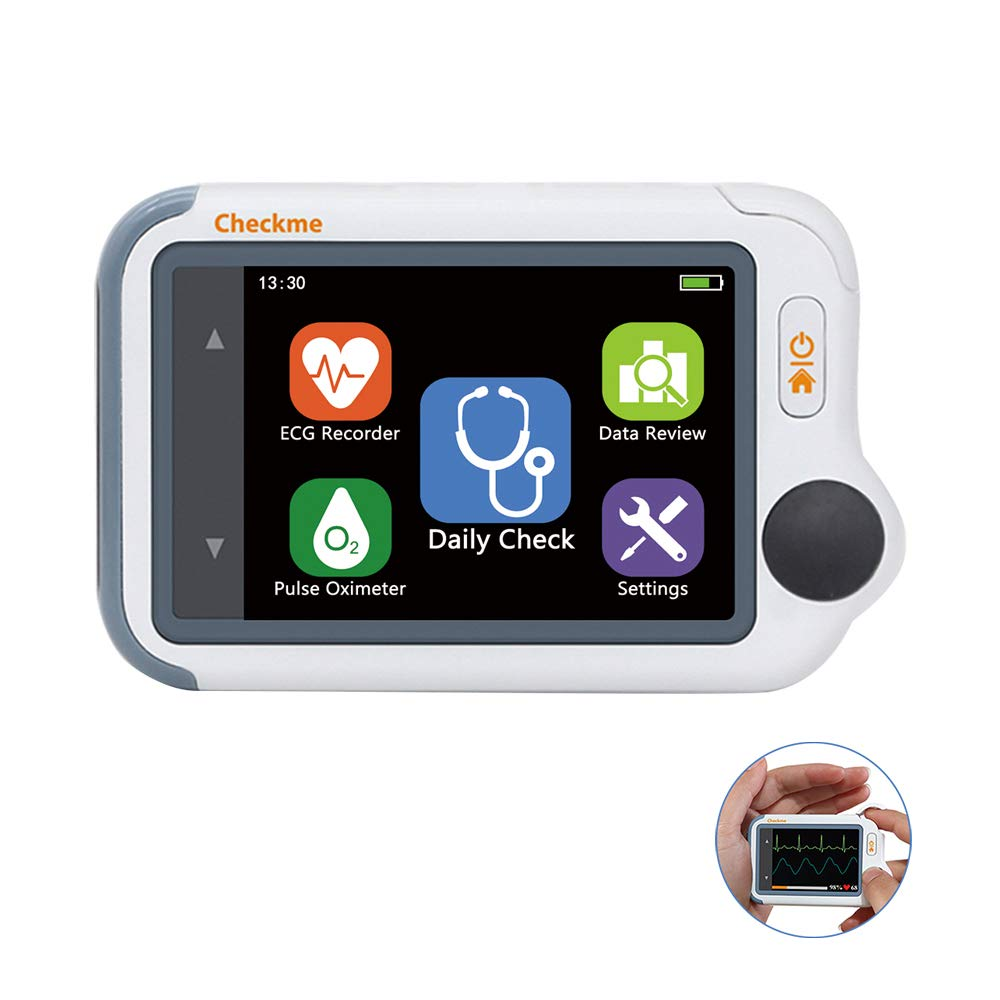 Home Handheld ECG Holter Monitor with Oxygen Saturation SPO2 PR Cuffless Blood Pressure HD Touch Screen
