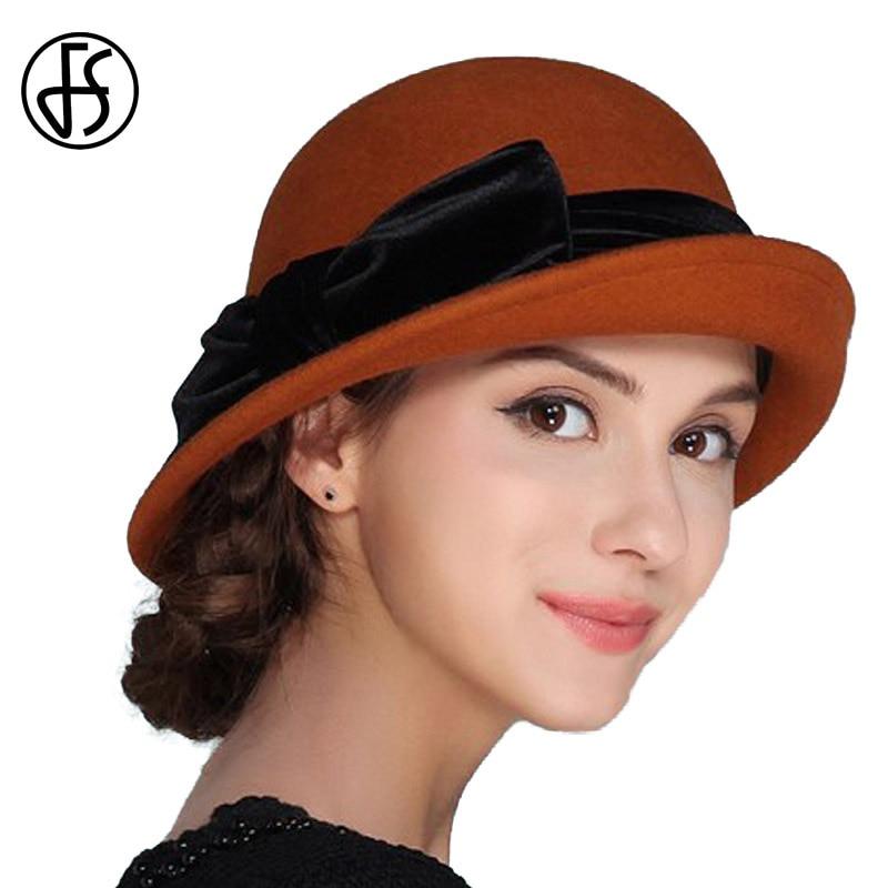 1063e297d02 FS Elegant 100% Wool Women Hat Felt Bowknot Bowler Cap Autumn Winter Vintage  Wide Brim