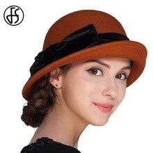 FS elegante 100% lana mujeres sombrero Felt Bowknot Bowler Cap Otoño Invierno  Vintage ala ancha Bowler sombreros Iglesia señora . 1cf8174f2d2c
