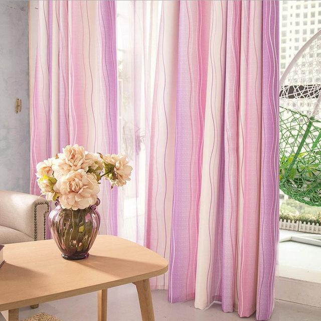 Online Shop Modern Pink Curtains For Girls Room Stripe Pink Tulle ...
