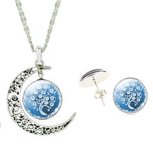 Harajuku Style Necklace & Earring Set Glass Cabochon Moon with Blue Tree of Life Necklace Pendant and Earring set for Women(China)
