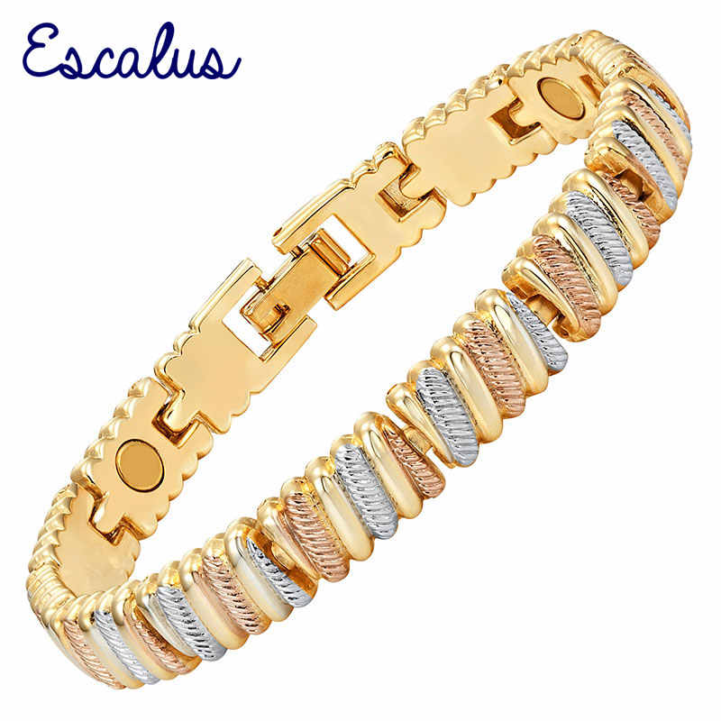 Escalus Ladies Bio Energy 3-Tone Rose Gold Silver Gold Magnetic Women Bracelet Gift Fashion Jewelry Bangle Charm Wristband
