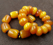 factory wholesale boutique high-end Mens Large chicken oil yellow amber beeswax hand string bead bracelet amber tube цена 2017