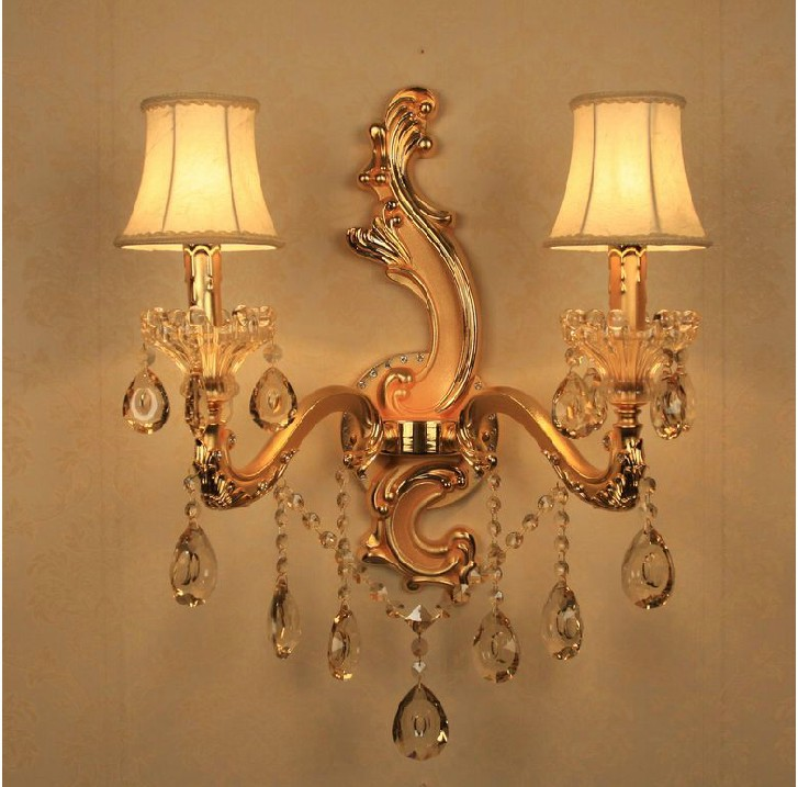 Candle Lamp Shades Shop: Wholesale and retail Crystal candle lamp lighting/ wall lamp lighting/  fabric shade wall lamp/ free shipping,Lighting