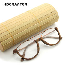 HDCRAFTER Flexible Frame Man Glasses Optical Eyeglasses Wood Retro Vintage Half Frames for Men Women Reading Clear Lens