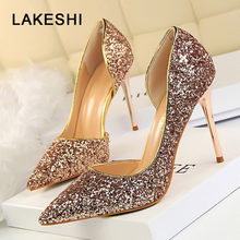 Women Pumps Extrem High Heels Sexy Stiletto Thin Heels Shoes Woman Wedding Shoes Gold Sliver Bling Party Ladies Pumps Shoes(China)