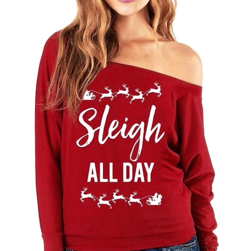 MUQGEW 2017 New Design Womens Christmas Long Sleeve Letter Sweatshirt Printed Beautiful Attractive Pullover Tops Blouse