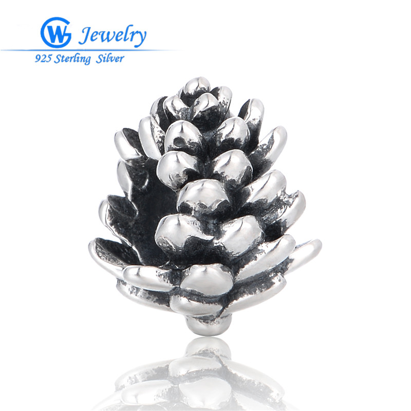 New Year Christmas Pinecone Charms Pendants Charm for Diy Jewelry Making 925 Sterling Silver Jewelry GW