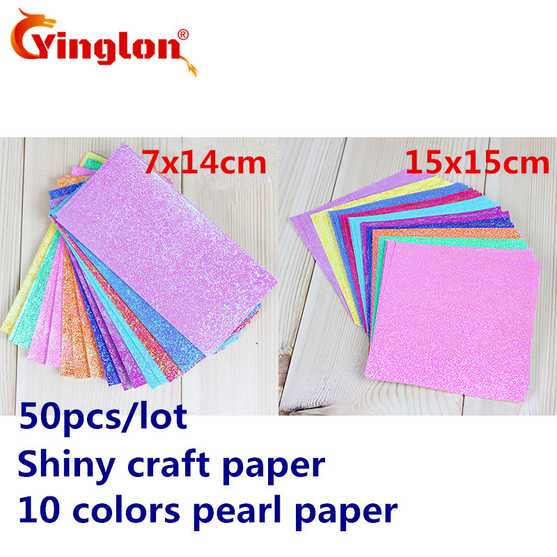 Free Shipping 50pcs/lot Bulk Pack Shiny Craft Paper 10 Colors Pearl Paper Cranes Origami Child Handmade Kid DIY Origami