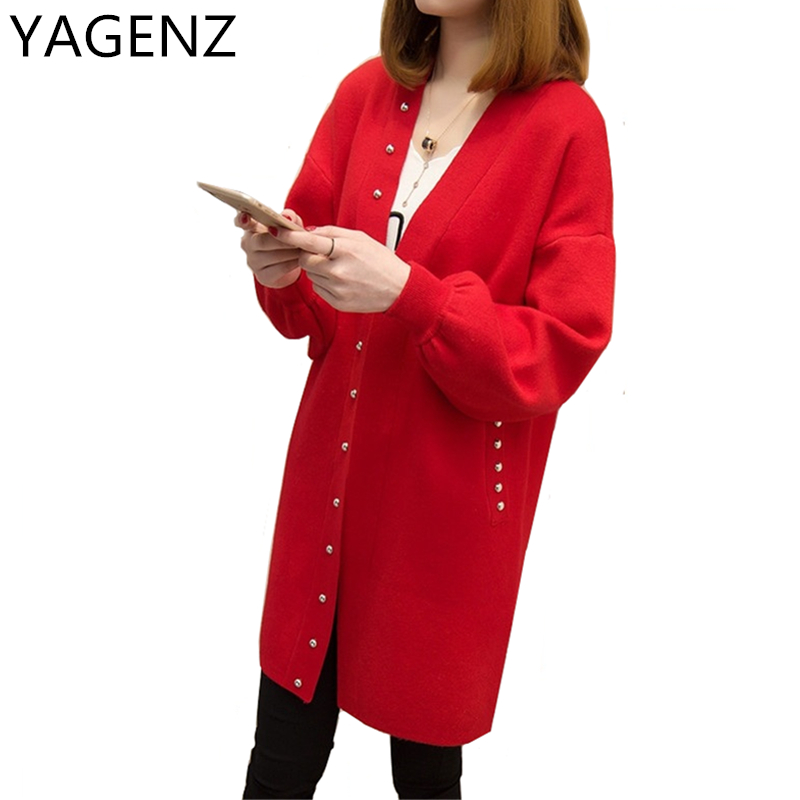 Korean New Women Cardigan2017 Spring/Autumn Medium-long Pure Color Women Cardigan Plus size Long sleeves Sweater Coat Black Red