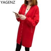 Korean New Women Cardigan2017 Spring Autumn Medium Long Pure Color Women Cardigan Plus Size Long Sleeves