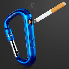 carabiner clip usb cigarette lighter windproof personality outdoor Safety buckle lighter electric heating wire carabiner electronic lighter usb electronic cigarette lighter creative windproof metal charging lighter replaceable heating wire