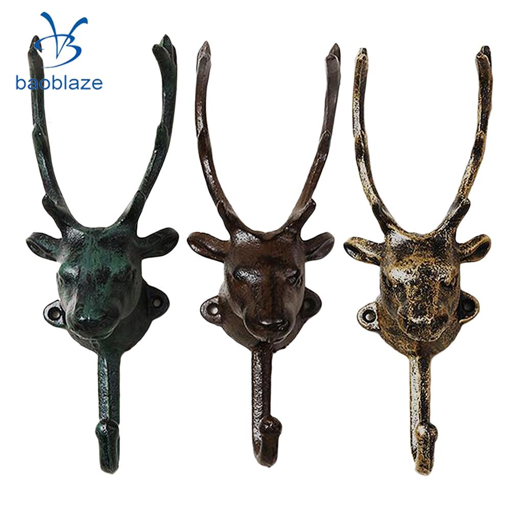 Baoblaze Deer Hook Wall Mounted Hanger Stag Decoration Cast Iron Metal Hooks 3 Colors Available fixmee 50pcs white plastic invisible wall mount photo picture frame nail hook hanger