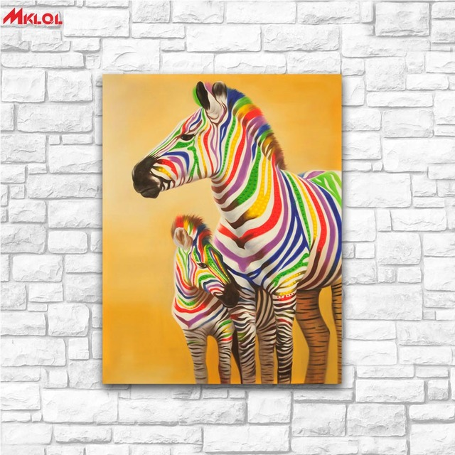 Large Wall Art Zebra Mother Canvas Painting For Living Room Home ...