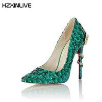 GGOB ручной работы из овечьей кожи Зеленый Кристалл туфли с красной подошвой на высоком каблуке туфли лодочки 11 см свадебные туфли дизайнерск