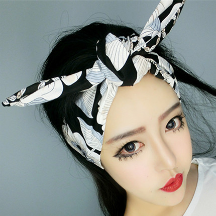US $14 25 5% OFF 1950s women vintage rockabilly pin up white black floral  print headband hairband hair head bands accessories bow rabbit ear-in