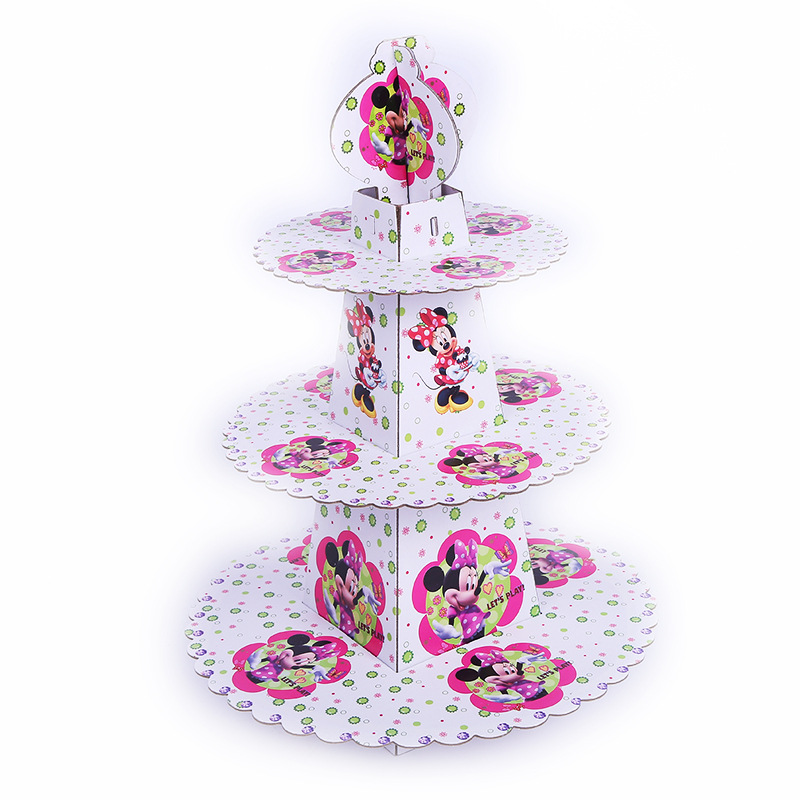3-tier Cupcake Stand Cupcake Wrappers Minnie Mouse Birthday Party Supplies Kids Baby Shower Favors Cupcake Decoration Set image