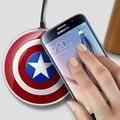 Capitão américa qi sem fio carregador pad para samsung galaxy s6/s6 edge/s6 borda + google nexus 4/5 lumia 920 cargador inalambrico