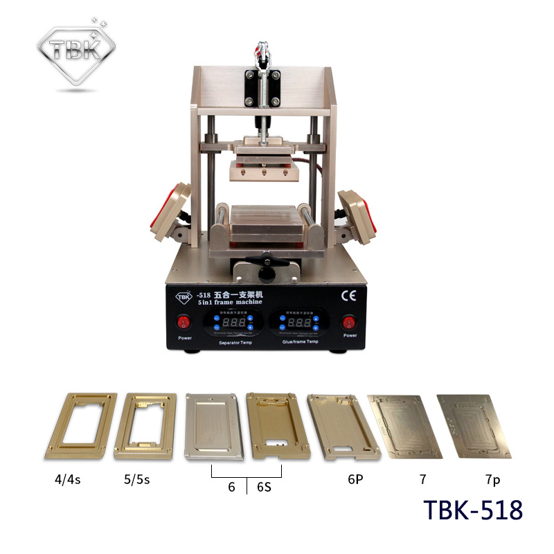 лучшая цена 5in1 LCD Refurbish Machine Middle Bezel Separator/Frame Laminating Machine/Vacuum LCD Separator/Glue Remover / Preheater TBK-518